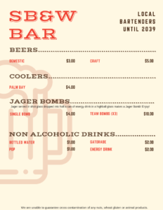 Three-Way Tournament 2019 Bar menu