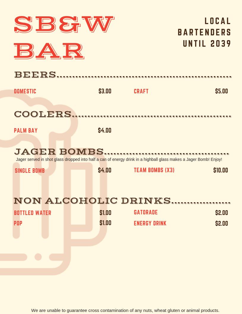 Three-Way Tournament 2019 Bar menu